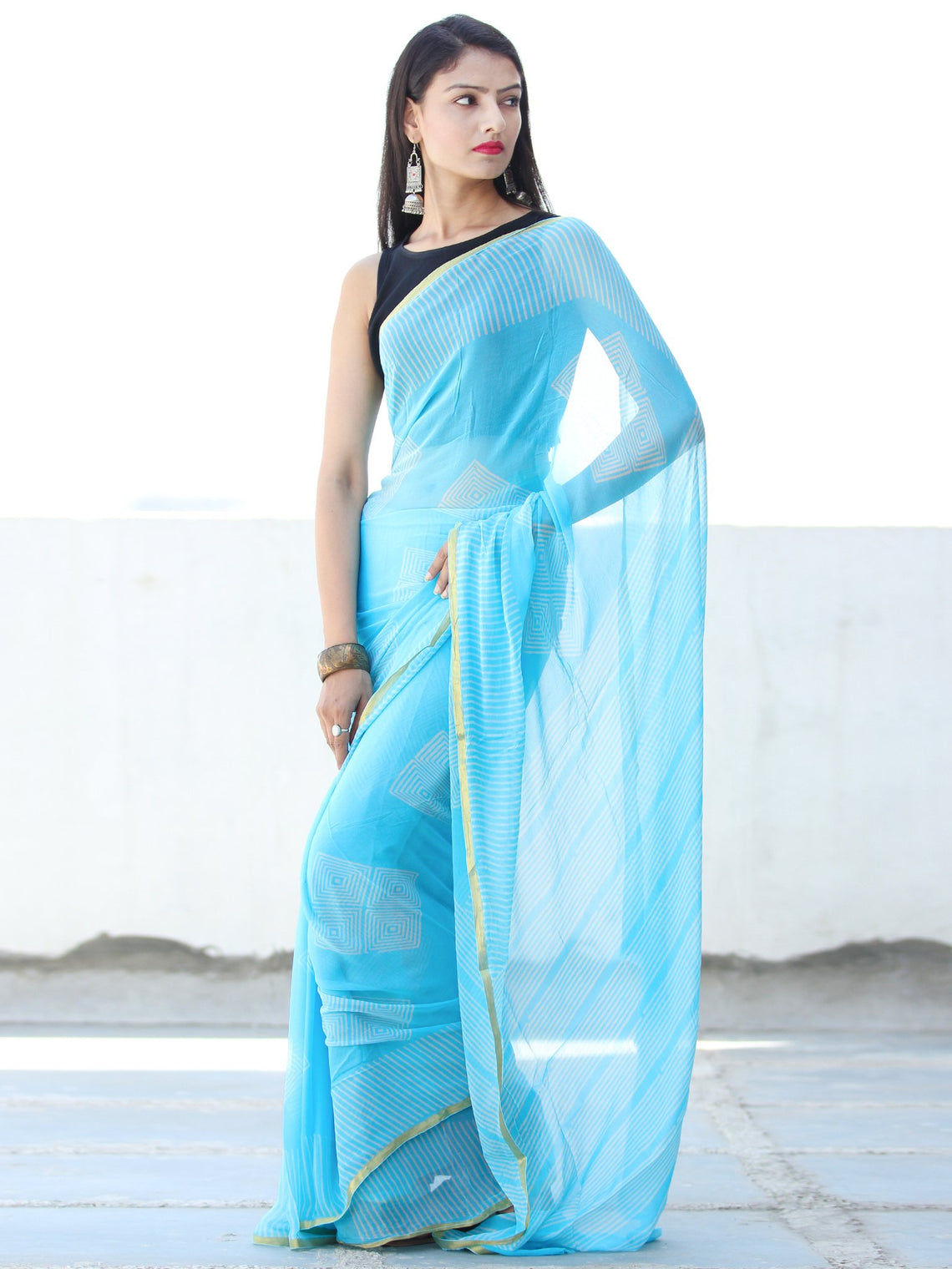Sky Blue White Hand Block Printed Chiffon Saree with Zari Border - S031703921
