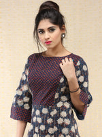 Gulnaz - Hand Block Printed Long Cotton Panel Dress  - D387F2063