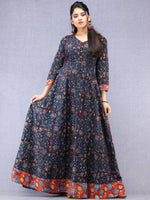 Nazmin - Hand Block Printed Long Cotton Dress With Back Knots  - D162F1301