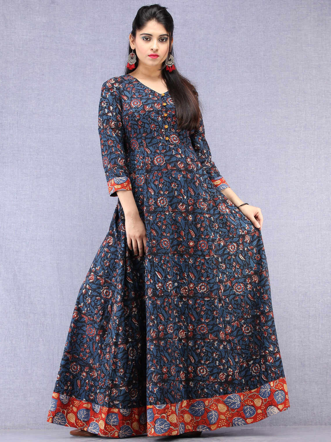 20813a4381 ... Nazmin - Hand Block Printed Long Cotton Dress With Back Knots -  D162F1301 ...