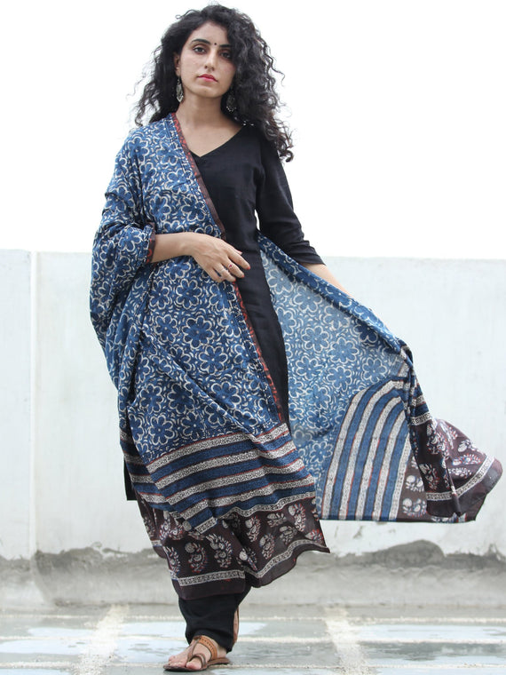 Indigo White & Brown Cotton Hand Block Printed Dupatta  - D04170406
