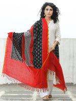 Red Black Grey Double Ikat Handwoven Pochampally Cotton Dupatta -  D04170308