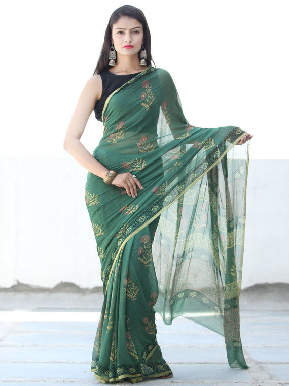 Green Yellow Pink Hand Block Printed Chiffon Saree with Zari Border - S031703922