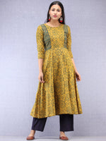 Mustard Green Red Ajrakh Hand Block Printed Cotton Kurta  - K200F1521
