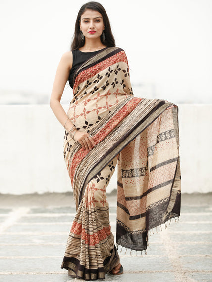 Beige Red Black Hand Block Printed Handwoven Linen Saree With Zari Border - S031704037