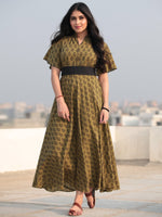 Paisely - Bagh Hand Block Printed Ruffle Sleeve Midi Dress D463F2067