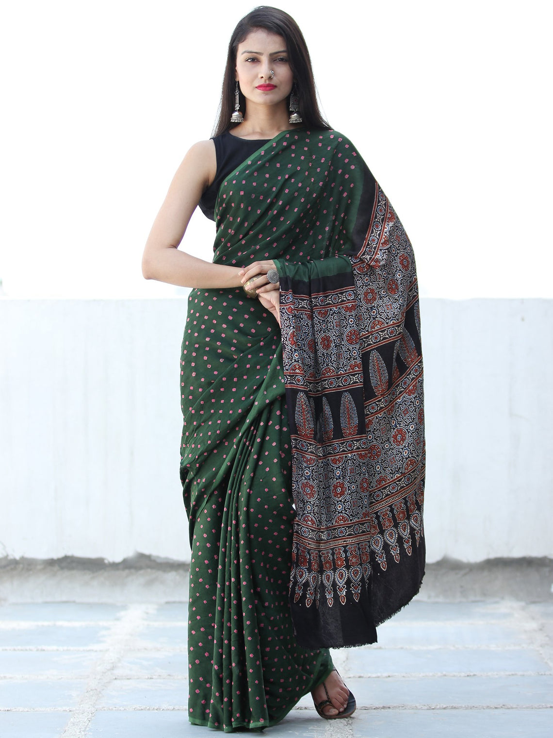 Bottle Green Coral Black  Bandhej Modal Silk Saree With Ajrakh Printed Pallu & Blouse - S031703882