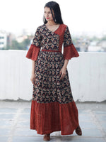 Rustic Imprints - Hand Block Printed Cotton Long Angrakha Dress  - D336F1842