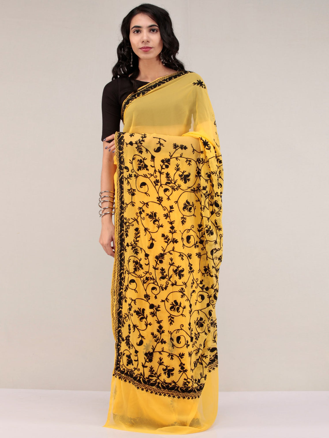 Yellow Aari Embroidered Georgette Saree From Kashmir - S031704634