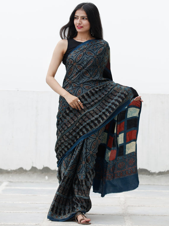 Indigo Black Maroon Ivory Ajrakh Hand Block Printed Modal Silk Saree in Natural Colors - S031703704