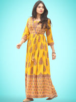 Motif Saga - Hand Block Printed Long Angrakha Dress  - D338F2057