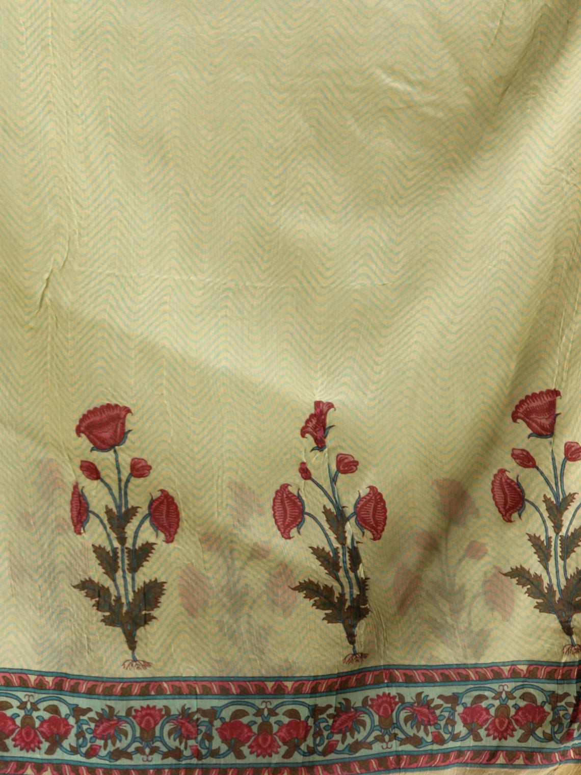 Light Olive Green Red Hand Block Printed Dupatta  - D04170699