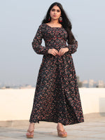 Black Indigo Maroon Hand Block Printed Deep Back Cotton Long Dress D461F2140