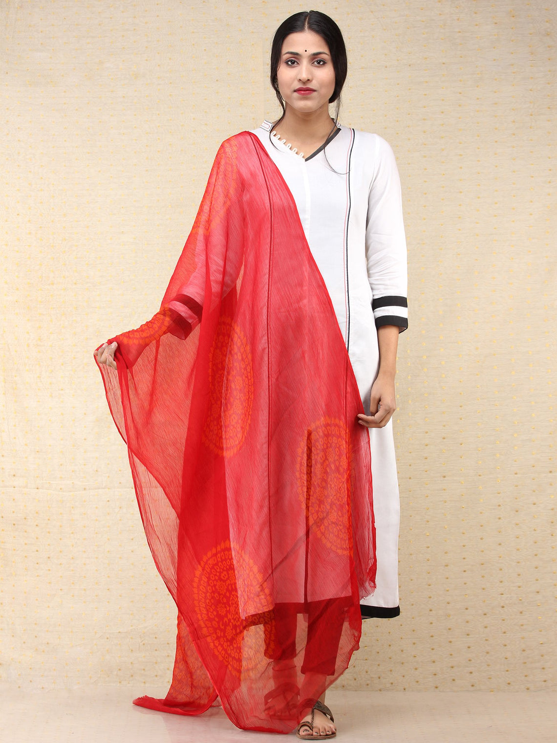 Red Yellow Georgette Hand Block Printed Dupatta  - D04170698