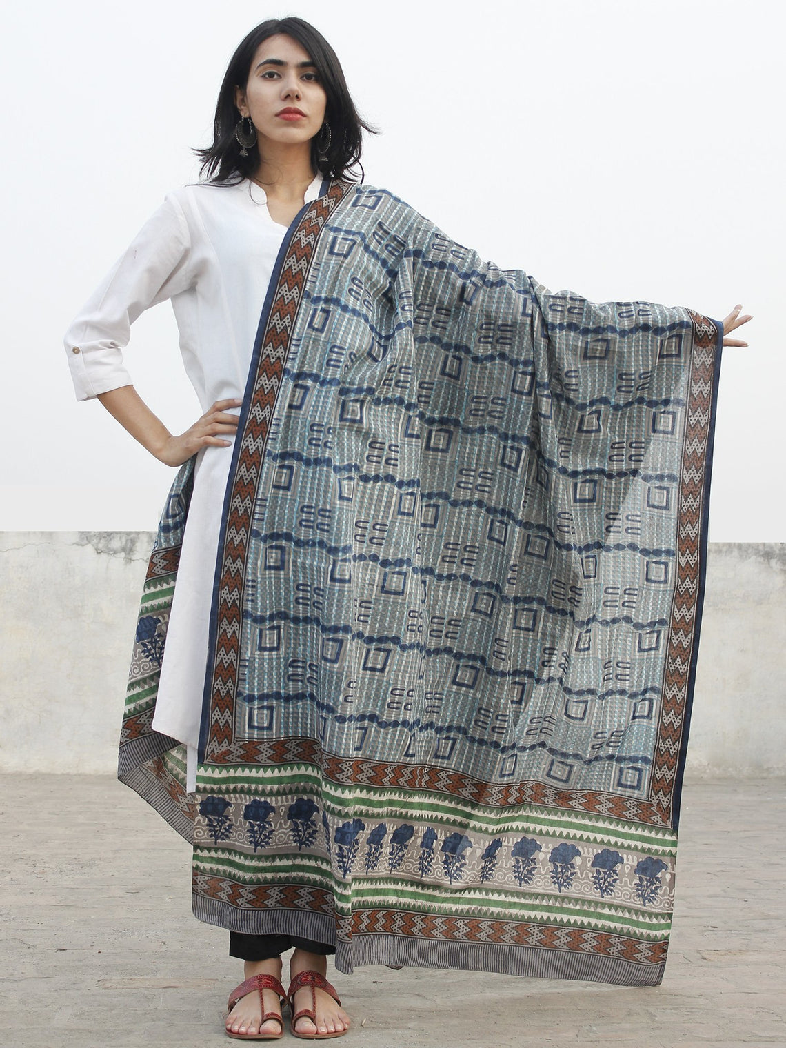 Kashish Indigo Blue Black Cotton Hand Block Printed Dupatta - D04170180