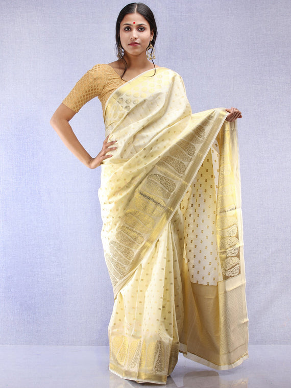 Banarasee Semi Silk Saree With  Golden Zari Work - Ivory & Gold - S031704366