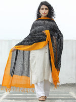 Black Mustard Yellow Ikat Handwoven Pochampally Cotton Dupatta -  D04170309