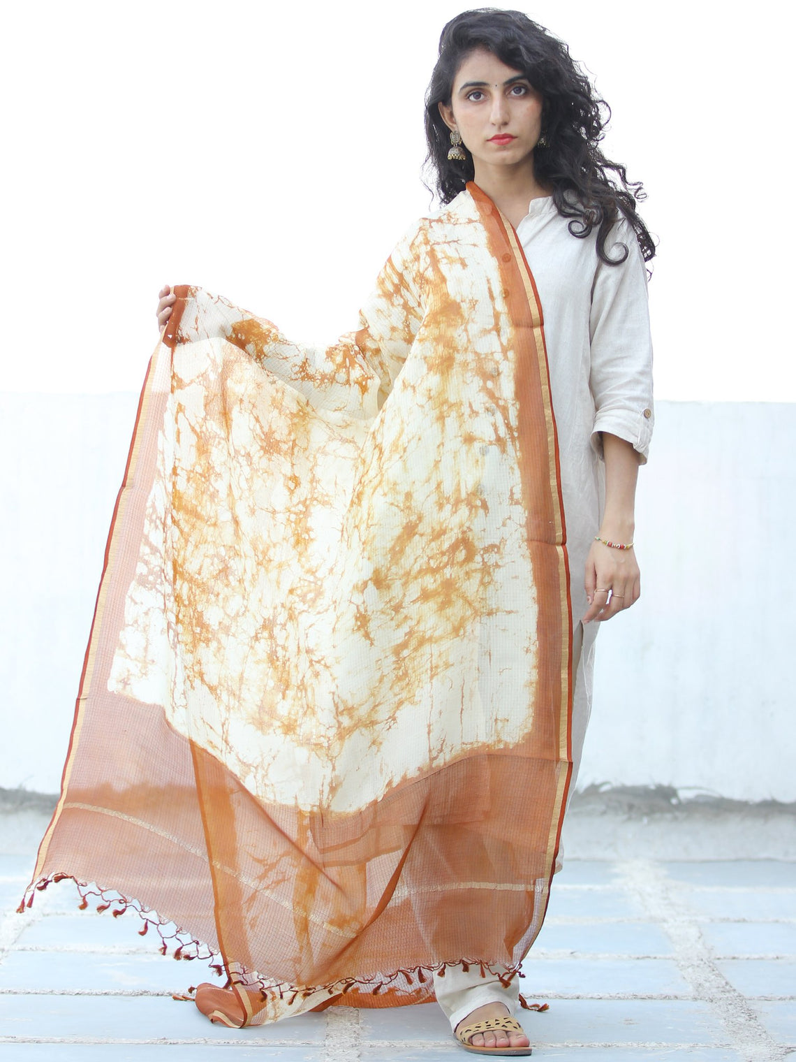 Ivory Light Brown Kota Silk Hand Block Printed Dupatta - D04170640