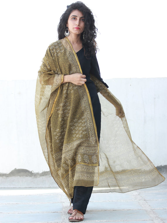 Brown Ivory Kota Silk Hand Block Printed Dupatta - D04170460