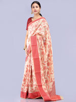Banarasee Chanderi Saree With Resham Border & Butta - Ivory & Red - S031704300