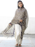 Blue Ivory Cotton Silk Hand Block Printed Dupatta  - D04170548