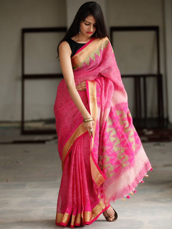 Pink Green Handwoven Linen Jamdani Saree With Zari Border & Tassels - S031703784