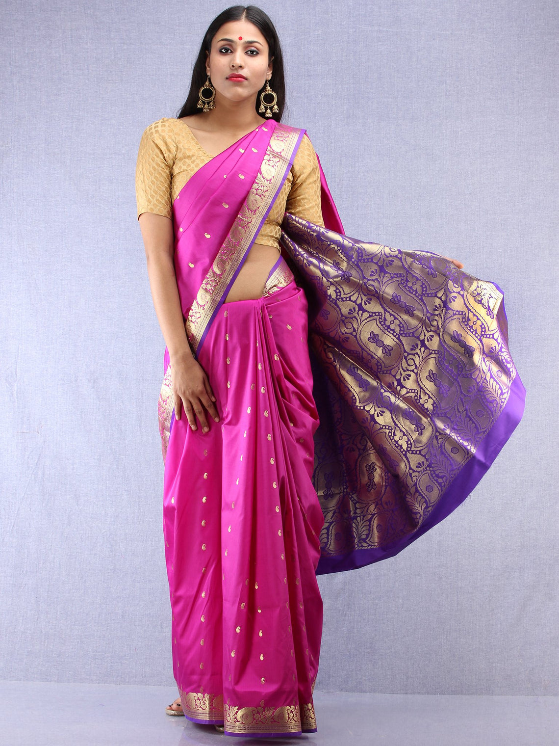 18144294e7015c ... Banarasee Art Silk Saree With Zari Work - Onion Pink Gold & Purple -  S031704412 ...