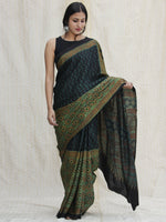 Bottle & Lime Green Black  Ajrakh Hand Block Printed Modal Silk Saree - S031704126
