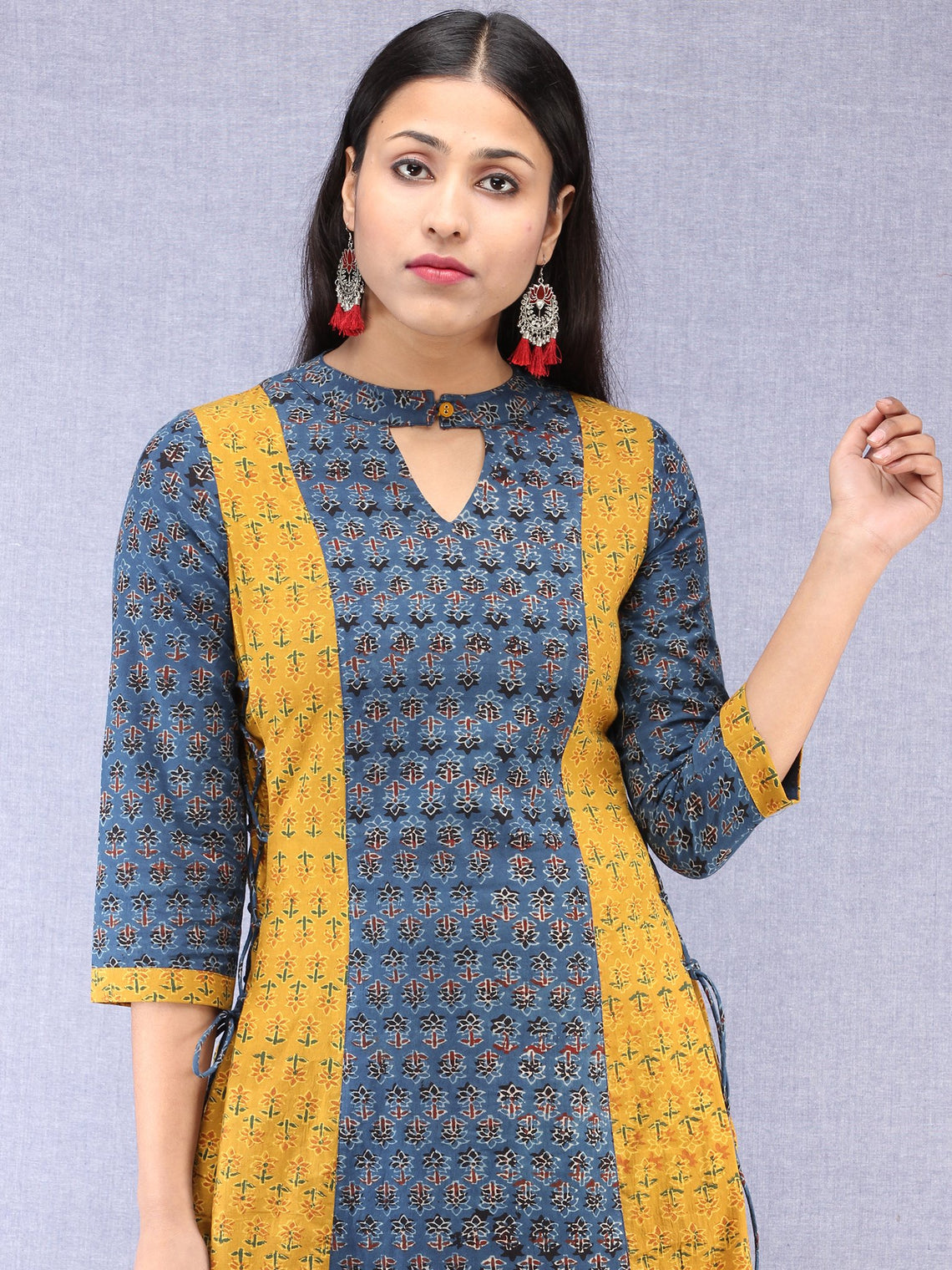 Indigo Mustard Ajrakh Hand Block Printed Cotton Kurta With Side Knots - K203F1536