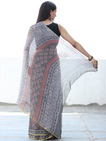 Charcoal Grey Pink Hand Block Printed Chiffon Saree with Zari Border - S031703923