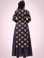 Jina - Indigo Gold Block Printed Long Cape Dress - D400FXXX