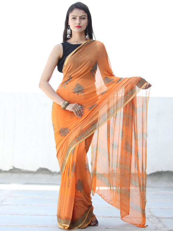 Orange Green Hand Block Printed Chiffon Saree with Zari Border - S031703924