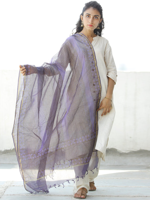 Purple Grey Kota Silk Hand Block Printed Dupatta - D04170549