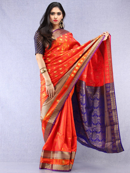 Banarasee Art Silk Saree With Resham Zari Weave - Orange Purple & Gold  - S031704393