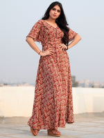 Red Beige Hand Block Printed V Back Ruffle Sleeves Cotton Long Dress D462F2132