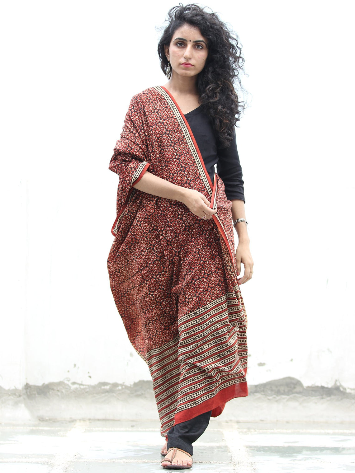 Rust Black Beige Cotton Hand Block Printed Dupatta   - D04170408