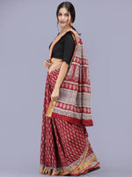 Deep Red Ivory Black Bagh Printed Maheshwari Cotton Saree - S031704176