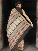 Beige Maroon Black Chanderi Silk Hand Block Printed Saree With Temple Border - S031703620