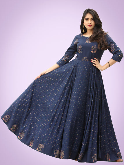 Diba - Indigo Gold Block Printed Long Urave Cut Dress - D384FYYYY