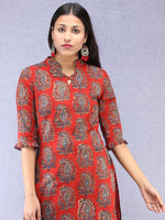 Red Indigo Hand Block Printed Kurta With Stand Collar  - K201F1827