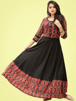 Tareen - Black Maroon Hand Block Printed Long Dress  - D150F2136