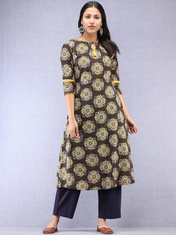 Charcoal Black Mustard Hand Block Printed Kurta With Side Pockets  - K202F1822