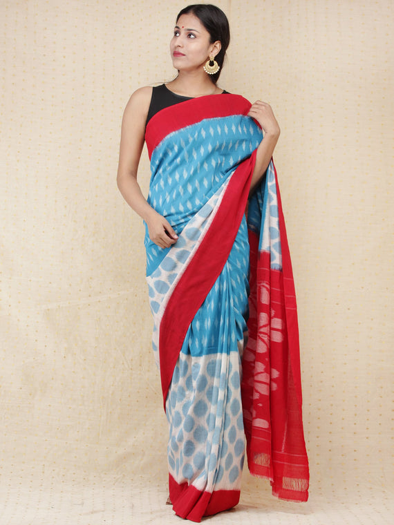 Sky Blue Ivory Red Ikat Handwoven Pochampally Mercerized Cotton Saree - s031704164