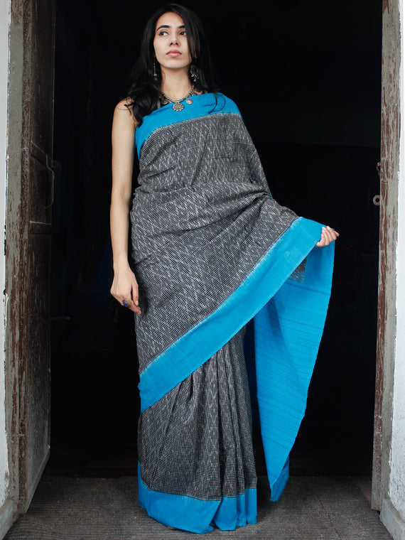 Grey Sky Blue Double Ikat Handwoven Cotton Saree - S031703524