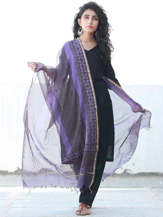 Purple Grey Kota Silk Hand Block Printed Dupatta - D04170459