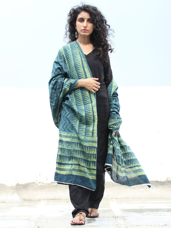 Deep Indigo Green Cotton Hand Block Printed Dupatta  - D04170409