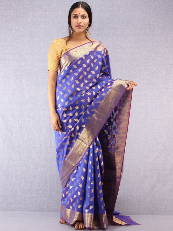 Banarasee Semi Silk Saree With Zari Work - Electric Blue & Gold - S031704368