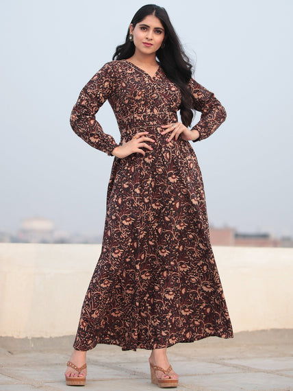 Deep Brown Beige Hand Block Printed Urave Cut Cotton Long Dress D463F1385