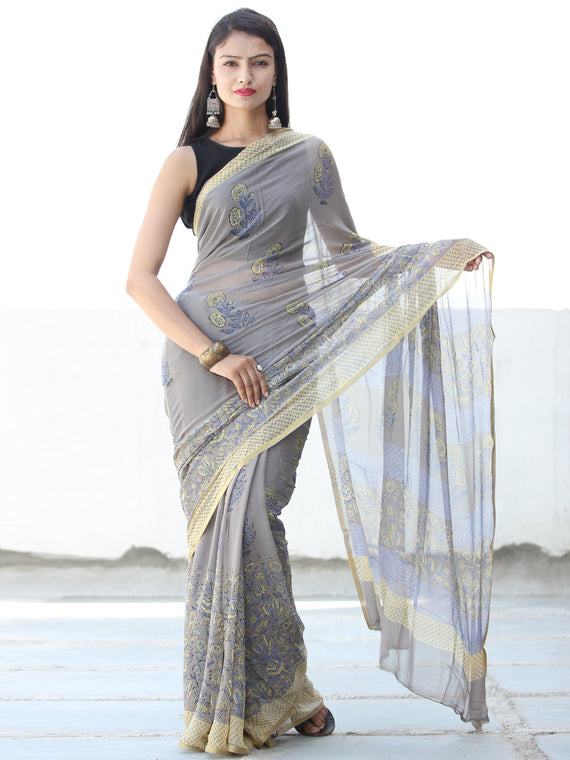 Grey Yellow Hand Block Printed Chiffon Saree with Zari Border - S031703925
