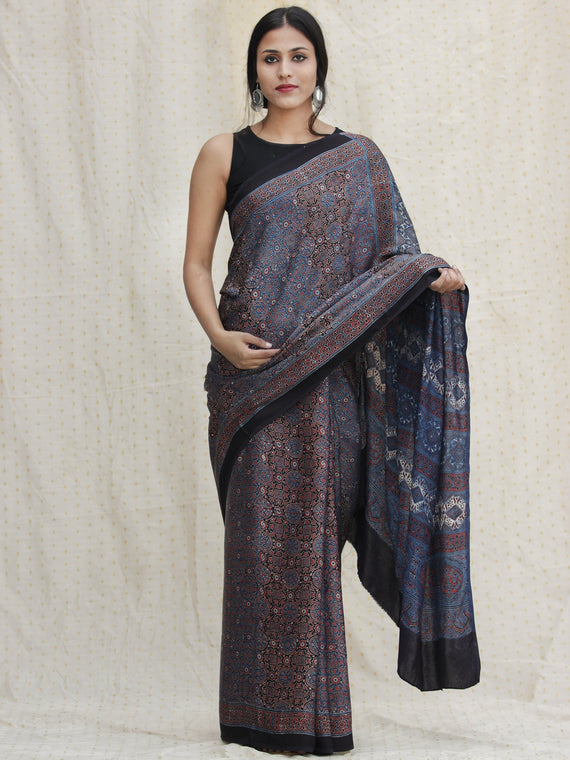 Indigo Black Red Ajrakh Hand Block Printed Modal Silk Saree - S031704127